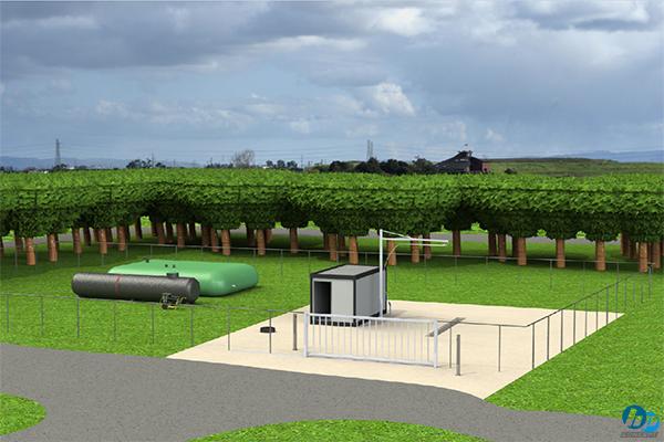 Conception 3D d'une aire de lavage avec traitement phytosanitaire