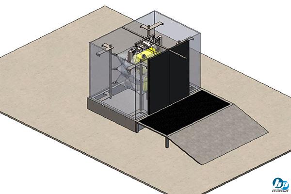 Conception 3D d'un bloc de lavage conteneur poubelle