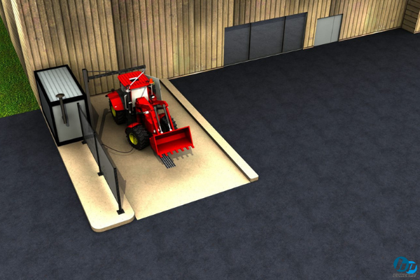 Modélisation 3D d'une aire de lavage pour véhicule de TP